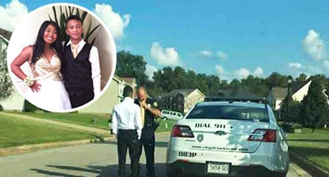 A police officer added the finishing touches to a teen's homecoming outfit. (Photo: Clarksville Police Department via Facebook)