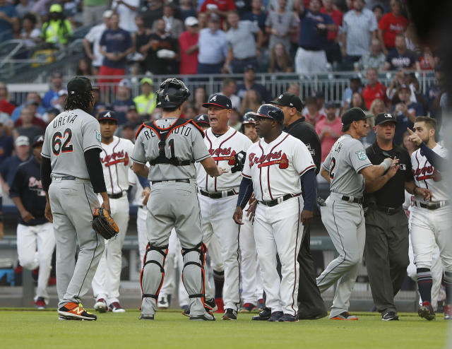 Ronald Acuña was hit by José Ureña to start Wednesday's game. (AP Photo/John Bazemore)