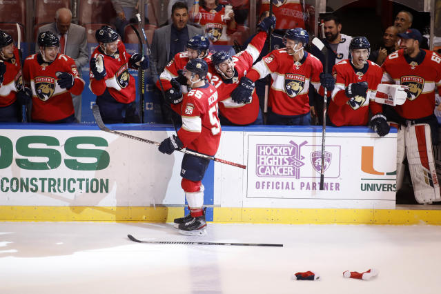 Florida Panthers' Noel Acciari (55) celebrates with teammates after scoring on a penalty shot for a hat trick during the second period of the team's NHL hockey game against the Dallas Stars, Friday, Dec. 20, 2019, in Sunrise, Fla. (AP Photo/Luis M. Alvarez)