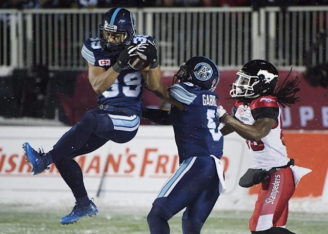 TORONTO — Longtime Toronto Argonauts defensive back Matt Black has retired.The 34-year-old Toronto native spent his entire 10-season CFL career with his hometown team, winning Grey Cups in 2012 and 2017 with the Argos.In the latter win, Black made the game-sealing interception in the end zone against the Calgary Stampeders in Ottawa.Over 127 games with the Argos, Black had 153 defensive tackles, 83 special-teams tackles, three sacks, three interceptions, two touchdowns and two forced fumbles.He was honoured in 2016 with the CFL's Jake Gaudaur Veterans' Award, given to a Canadian CFL player who best demonstrates the attributes of Canada's veterans through strength, perseverance, courage, comradeship and contribution to communities.Black will remain with the Argos, working with the front office in a football operations and player relations role. TICATS SIGN THREEThe Hamilton Tiger-Cats have signed offensive lineman Vinston Painter, and wide receivers Andrew Turzilli and Jaelon Acklin.Painter, 29, has appeared in 14 career NFL games with the Cleveland Browns, Washington Redskins and Arizona Cardinals.Turzilli played three games with the Tennessee Titans in 2015.Acklin was cut by the Baltimore Ravens last year in training camp after finishing his NCAA career at Western Illinois.The Canadian Press