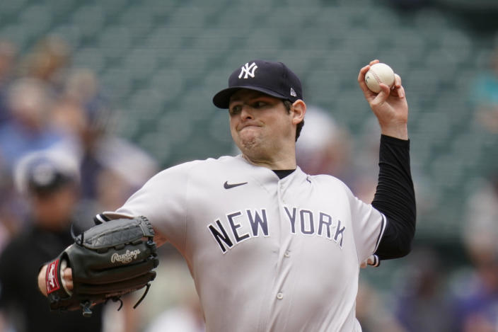 New York Yankees starting pitcher Jordan Montgomery throws against the Seattle Mariners in the third inning of a baseball game Thursday, July 8, 2021, in Seattle. (AP Photo/Elaine Thompson)