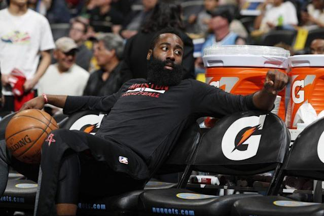 James Harden takes a rare break from shooting threes. (AP)