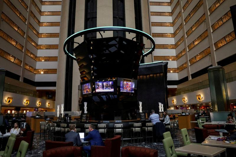 FILE PHOTO: A view inside the lobby of the Marriott Marquis hotel in Times Square in New York