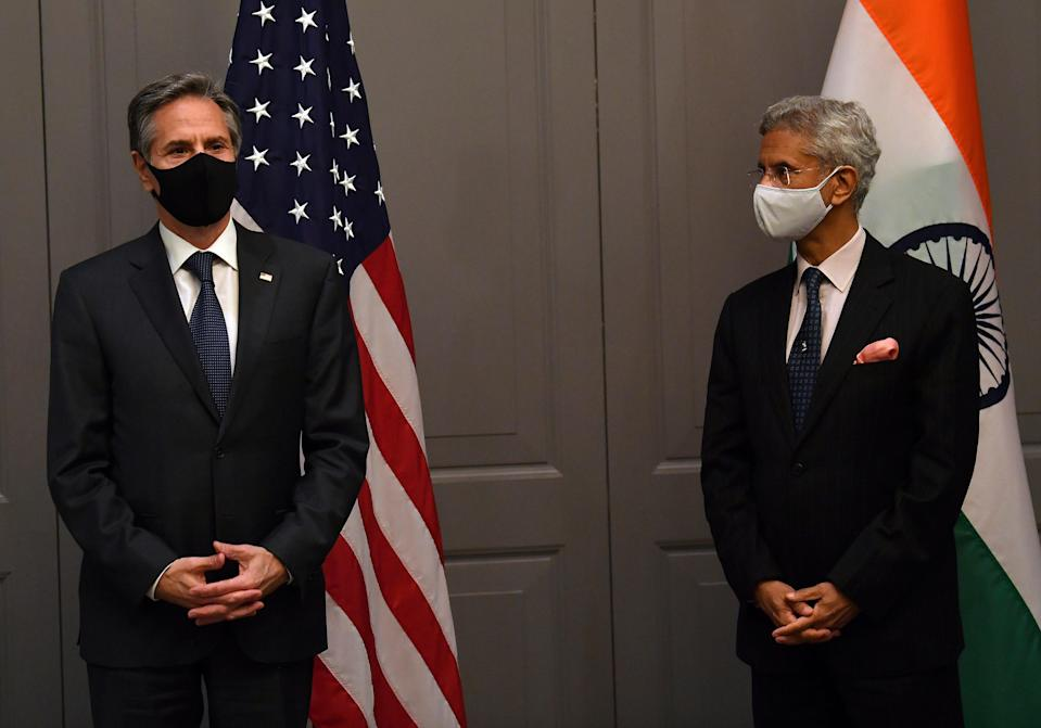 <p>US Secretary of State Antony Blinken, left, attends a press conference with India's Foreign Minister Subrahmanyam Jaishankar in London on Monday</p> (AP)