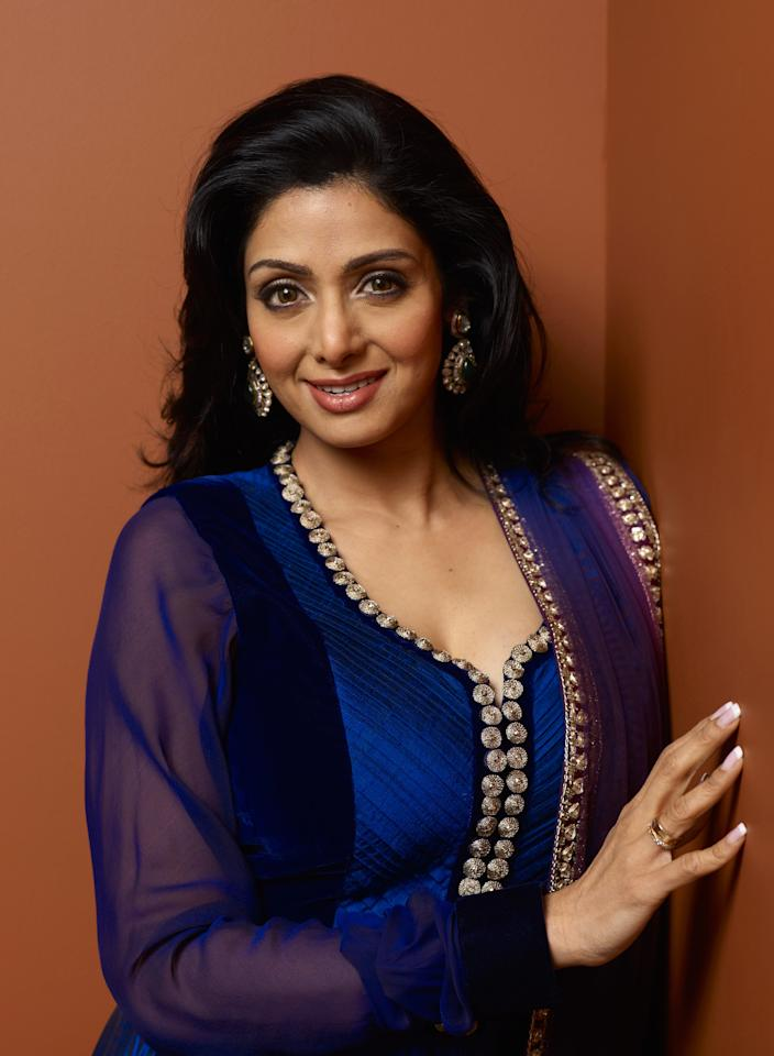 "TORONTO, ON - SEPTEMBER 12:  Actress Sridevi of ""English Vinglish"" poses at the Guess Portrait Studio during 2012 Toronto International Film Festival on September 12, 2012 in Toronto, Canada.  (Photo by Matt Carr/Getty Images)"