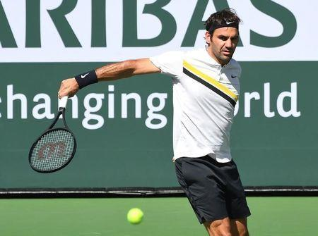 Mar 12, 2018; Indian Wells, CA, USA; Roger Federer (SUI) during his third round match against Filip Krajinovic (not pictured) in the BNP Paribas Open at the Indian Wells Tennis Garden. Mandatory Credit: Jayne Kamin-Oncea-USA TODAY Sports