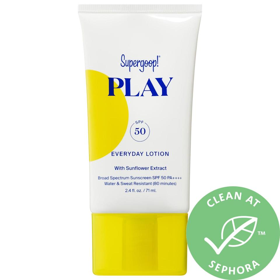 """<p><strong>Supergoop!</strong></p><p>sephora.com</p><p><strong>$22.00</strong></p><p><a href=""""https://go.redirectingat.com?id=74968X1596630&url=https%3A%2F%2Fwww.sephora.com%2Fproduct%2Fsupergoop-play-everyday-lotion-spf-50-with-sunflower-extract-P454383&sref=https%3A%2F%2Fwww.oprahdaily.com%2Fbeauty%2Fskin-makeup%2Fg36545377%2Fbest-body-lotion-with-spf%2F"""" rel=""""nofollow noopener"""" target=""""_blank"""" data-ylk=""""slk:Shop Now"""" class=""""link rapid-noclick-resp"""">Shop Now</a></p><p>This lightweight, fast-absorbing, water-resistant lotion moisturizes and stays put when the barometer rises (you still need to put more on every 120 minutes or so though). """"The formulation itself is silky and it's easy enough to carry around for reapplication,"""" says Kavita Mariwalla, M.D., a dermatologist in West Islip, New York. As an added bonus, it also contains beta carotene-rich sunflower extract for protection against free radical damage and rosemary leaf extract to calm skin.</p>"""