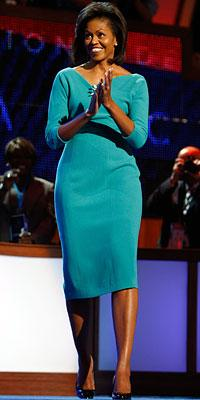 Chicago designer Maria Pinto was a favorite of Michelle Obama long before she ever became first lady. Here she is wearing Pinto's teal dress at the Democratic National Convention in August 2008.