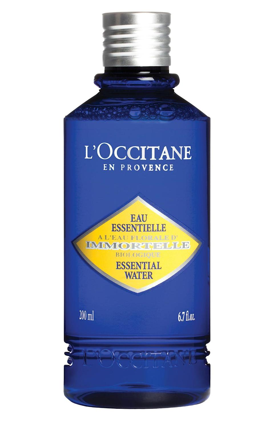 "<p><strong>L'Occitane</strong></p><p>loccitane.com</p><p><strong>$34.00</strong></p><p><a href=""https://go.redirectingat.com?id=74968X1596630&url=https%3A%2F%2Fwww.loccitane.com%2Fen-us%2Fimmortelle-essential-water-27EV200I19.html&sref=https%3A%2F%2Fwww.goodhousekeeping.com%2Fbeauty%2Fanti-aging%2Fg32894759%2Fbest-toners%2F"" rel=""nofollow noopener"" target=""_blank"" data-ylk=""slk:Shop Now"" class=""link rapid-noclick-resp"">Shop Now</a></p><p>L'Occitane's toner water is based on a bouquet of soothing botanicals like immortelle (helichrysum) extract, rose water, and sunflower seed oil. ""<strong>My face feels instantly cooled and calm</strong>,"" GH's beauty editor reports. ""Plus, it smells herbal and warm, like immortelle flowers dried in the Corsican sun, where the ingredient is harvested.""</p>"