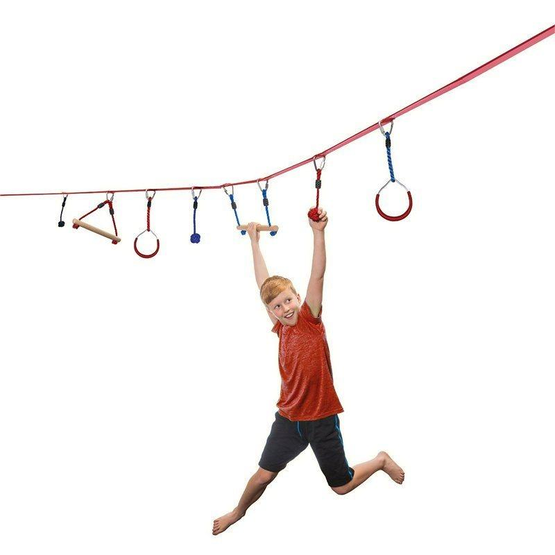 Ninja Line 30 ft. Intro Kit with 7 Hanging Obstacles. Image via Indigo.