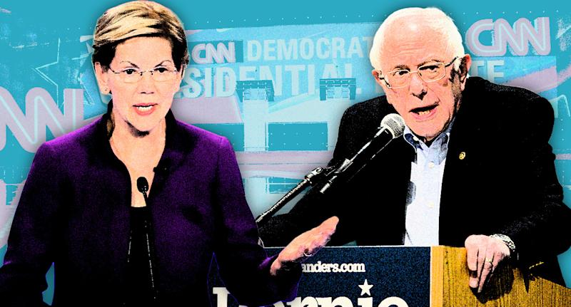 Elizabeth Warren and Bernie Sanders. (Photo illustration: Yahoo News; photos: AP(2), Peter Morgan/AP)