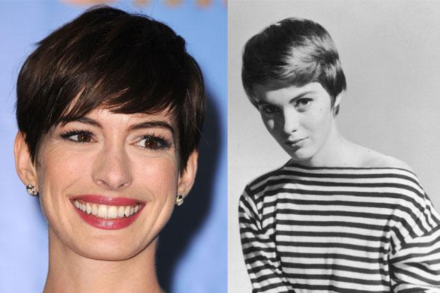 Anne Hathaway (left) is probably the best contender for the pixie cut in this century. Our favorite from the 60s? American actress Jean Seberg, of course.