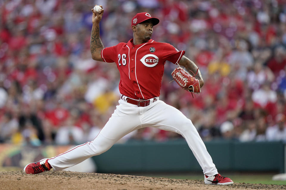 CINCINNATI, OHIO - SEPTEMBER 21: Raisel Iglesias #26 of the Cincinnati Reds pitches during a game against the New York Mets at Great American Ball Park on September 21, 2019 in Cincinnati, Ohio. (Photo by Bryan Woolston/Getty Images)