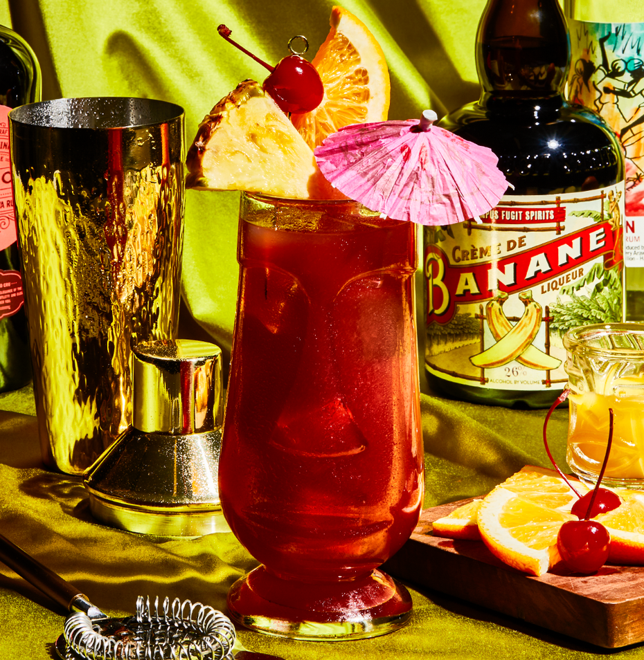 """<p><em>A doozy of a cocktail, with more fruit flavors than a grocery store's produce aisle.</em></p><p><strong>Ingredients</strong></p><p>• 1 oz. light rum<br>• 1 oz. dark rum<br>• 1 oz. banana liqueur<br>• 1 oz. blackberry liqueur<br>• 1 oz. orange juice<br>• 1 oz. pineapple juice<br>• splash of grenadine </p><p><strong>Directions</strong></p><p>Shake all ingredients with ice. Strain into a glass over fresh ice. Garnish with fresh fruit.</p><p><a class=""""link rapid-noclick-resp"""" href=""""https://www.esquire.com/food-drink/drinks/a28579125/rum-runner-cocktail-drink-recipe/"""" rel=""""nofollow noopener"""" target=""""_blank"""" data-ylk=""""slk:Read More"""">Read More</a></p>"""