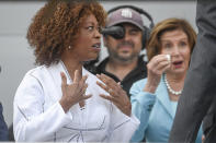 Ship sponsor Alfre Woodard Spencer walks away as Speaker of the House Nancy Pelosi looks on during a christening ceremony for the the USNS John Lewis Saturday July 17, 2021, in San Diego. (AP Photo/Denis Poroy)