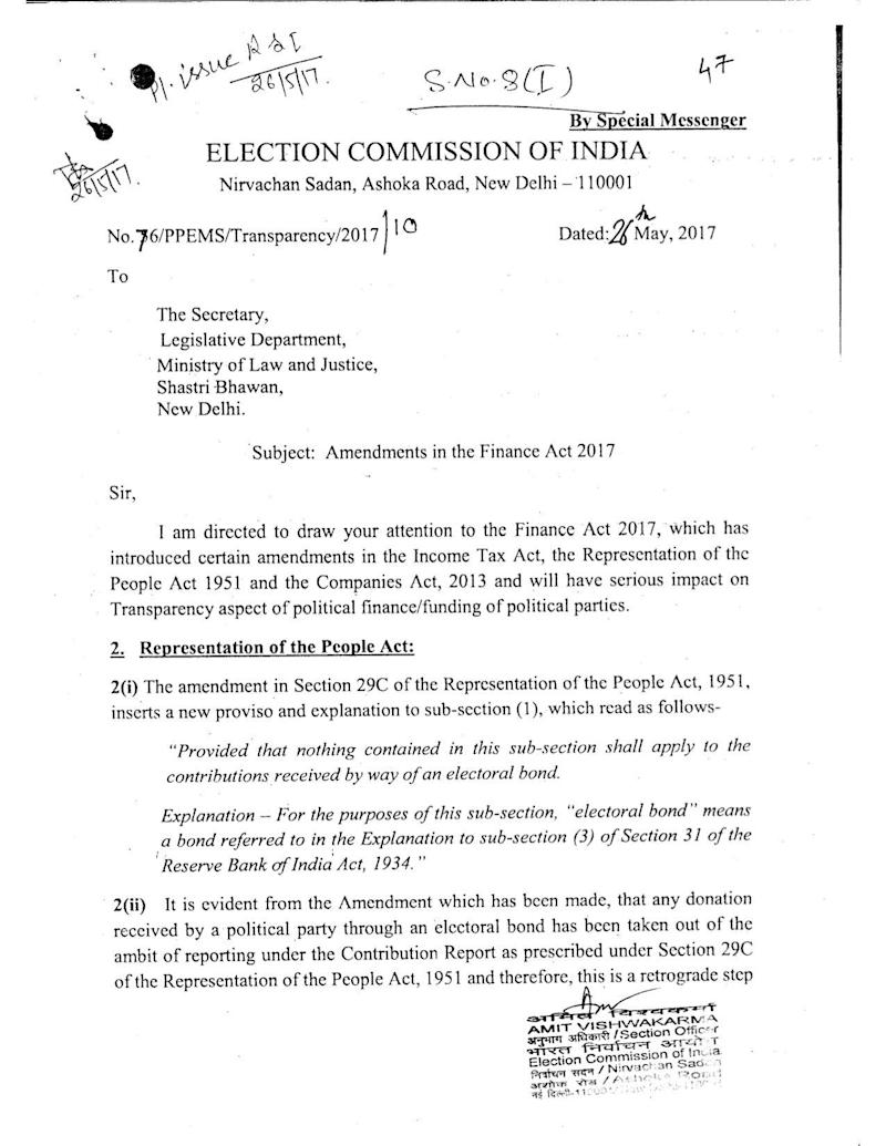 The ECI's May 2017 letter to the ministry of law and justice, obtained under the RTI Act. (Photo: )