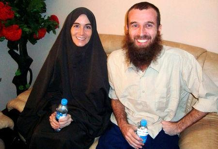 FILE PHOTO: Freed hostages Lindhout and Brennan in Mogadishu
