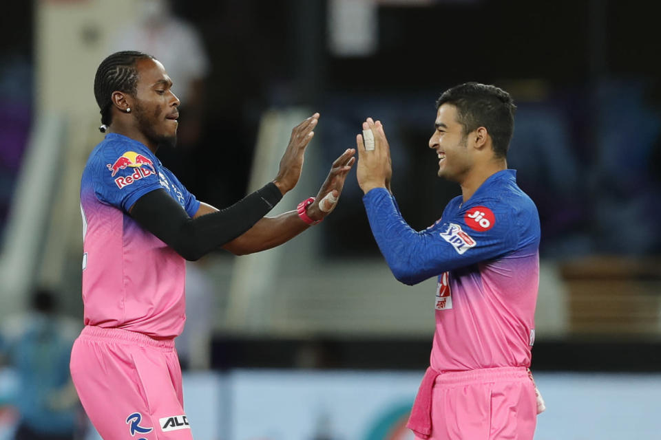 Jofra Archer, left, has been one of the Rajasthan Royals' key performers this year (BCCI/handout)