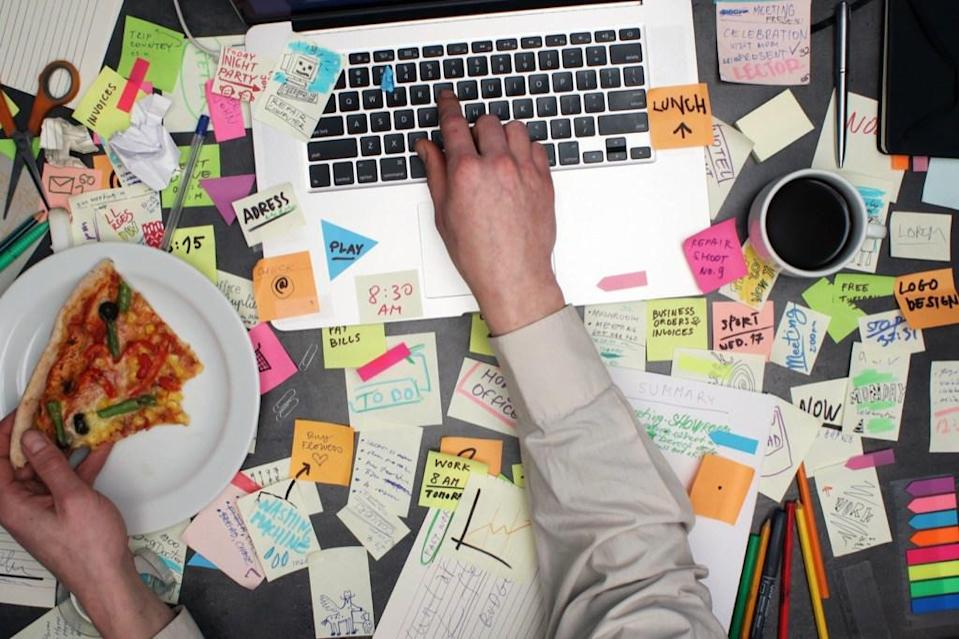 """If you were known at all of your previous jobs for having the desk with the rancid rotting food on it, then don't bother pretending that you're <strong>Martha Stewart</strong>-level organized. And if you want to work on your organization skills before you start your next job, then check out these <a rel=""""nofollow noopener"""" href=""""https://bestlifeonline.com/easy-desk-organize/?utm_source=yahoo-news&utm_medium=feed&utm_campaign=yahoo-feed"""" target=""""_blank"""" data-ylk=""""slk:20 Easy Tips for Keeping Your Desk Organized."""" class=""""link rapid-noclick-resp"""">20 Easy Tips for Keeping Your Desk Organized.</a>"""
