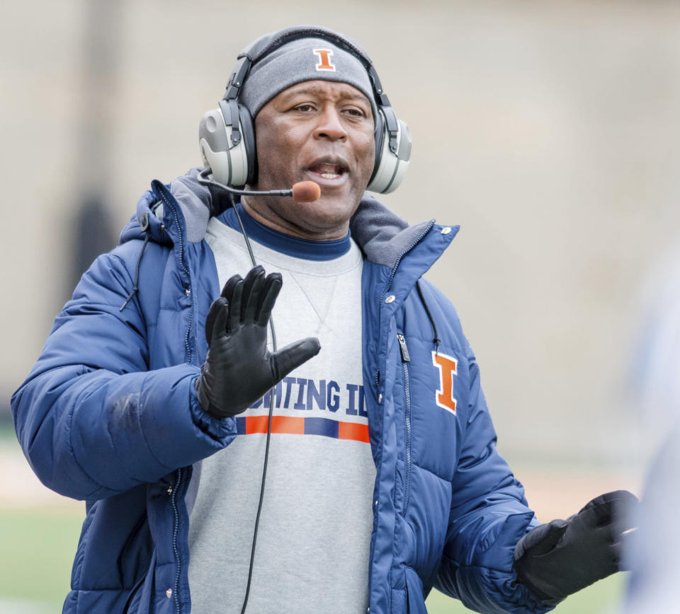 Illinois head coach Lovie Smith shouts from the sideline during the second quarter of an NCAA college football game against Wisconsin in 2017. (AP)