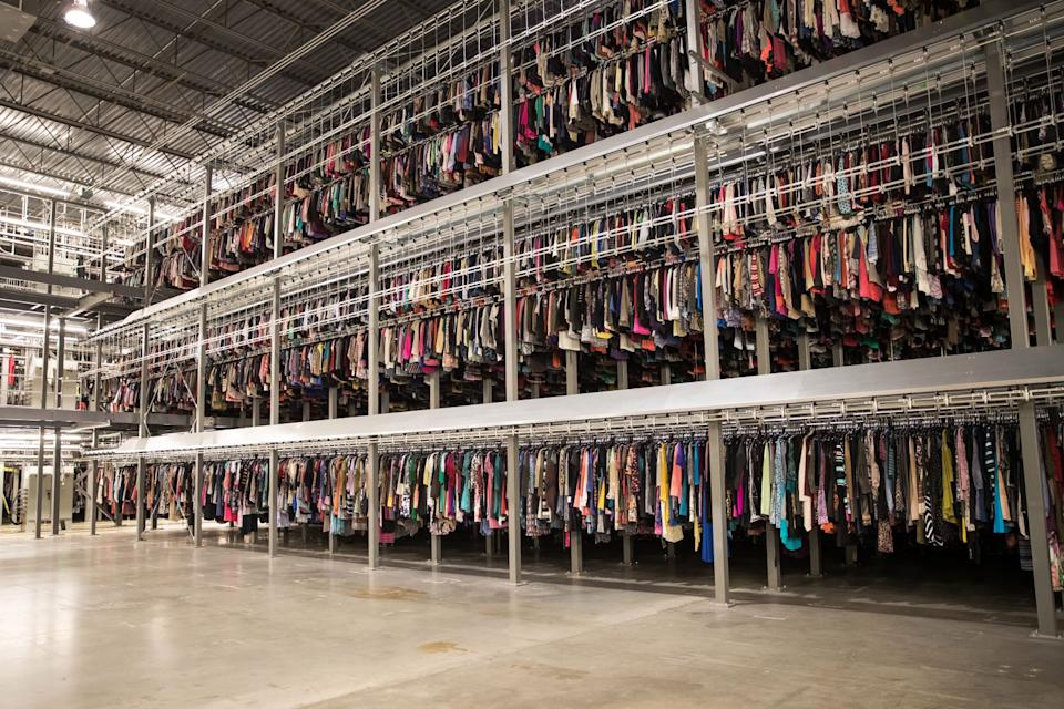 One of ThredUp's giant storage spaces filled with clothing.