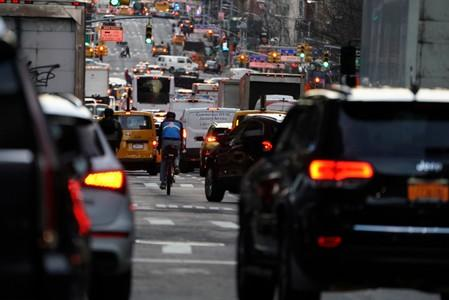 FILE PHOTO: Traffic is pictured at twilight along 2nd Ave. in Manhattan