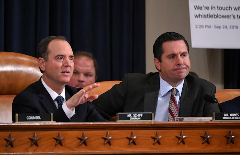 Committee Chairman Adam Schiff (D-CA) speaks and as Ranking Member Rep. Devin Nunes (R-CA) looks on during a House Intelligence Committee hearing as part of the impeachment inquiry into U.S. President Donald Trump on Capitol Hill in Washington, U.S., November 19, 2019. (Photo: Erin Scott/Reuters)