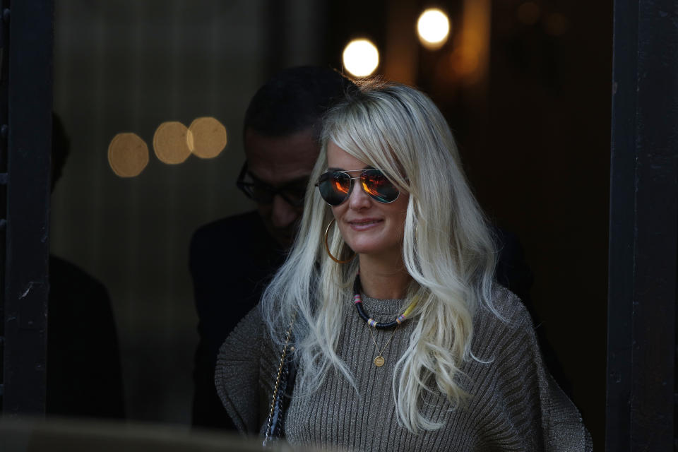 Laeticia Hallyday are coming out of an appointment with her lawyer Ardavan Amir-Aslani Avenue Montaigne in Paris, France on October 9, 2018. (Photo by Mehdi Taamallah/NurPhoto via Getty Images)
