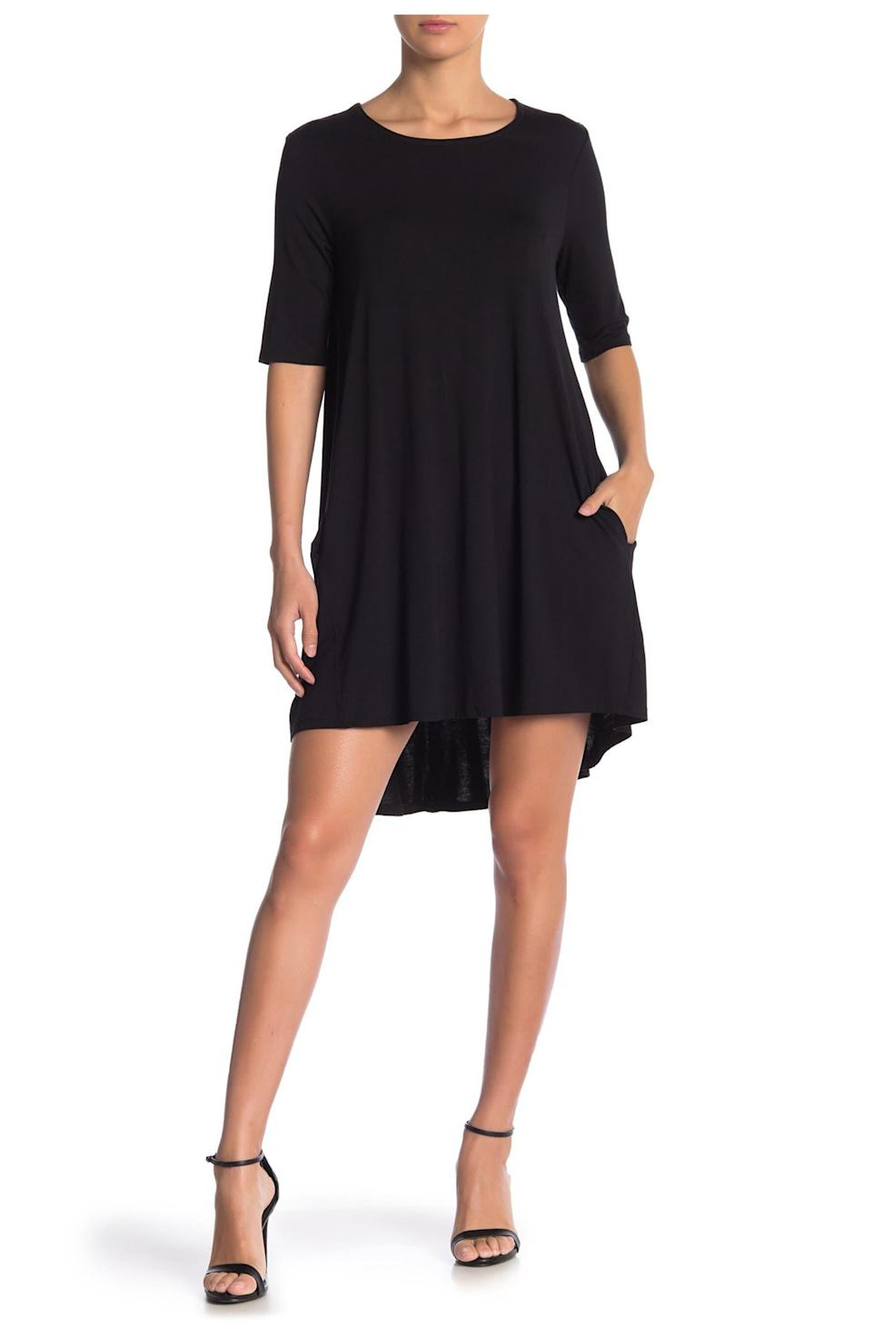 """<h2>Philosophy Cashmere Elbow Sleeve Knit Swing Dress</h2><br>Who can resist a swingy, easy-going mini dress for under $20? File this under """"Perfect LBD.""""<br><br><strong>The Hype: </strong>4.3 out of 5 stars and 376 reviews on <a href=""""https://www.nordstromrack.com/s/philosophy-cashmere-elbow-sleeve-knit-swing-dress/6041463"""" rel=""""nofollow noopener"""" target=""""_blank"""" data-ylk=""""slk:NordstromRack.com"""" class=""""link rapid-noclick-resp"""">NordstromRack.com</a><br><br><strong>What They're Saying:</strong> """"I had been looking for a reasonably priced comfortable and trendy black dress! Bingo! This dress fit that description and is super comfortable. I wore it with tights, a scarf, and boots. I received compliments all day!"""" — Maria B, NordstromRack.com reviewer<br><br><strong>Philosophy Cashmere</strong> Elbow Sleeve Knit Swing Dress, $, available at <a href=""""https://go.skimresources.com/?id=30283X879131&url=https%3A%2F%2Fwww.nordstromrack.com%2Fs%2Fphilosophy-cashmere-elbow-sleeve-knit-swing-dress%2F6041463"""" rel=""""nofollow noopener"""" target=""""_blank"""" data-ylk=""""slk:Nordstrom Rack"""" class=""""link rapid-noclick-resp"""">Nordstrom Rack</a>"""