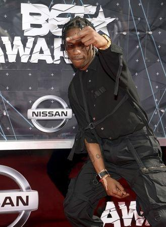 Travis Scott arrives at the 2015 BET Awards in Los Angeles