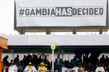 Gambian President Adama Barrow is seen with his guests during his swearing-in and the Gambia's Independence Day ceremony at the Independence Stadium, in Bakau, Gambia February 18, 2017. REUTERS/Thierry Gouegnon