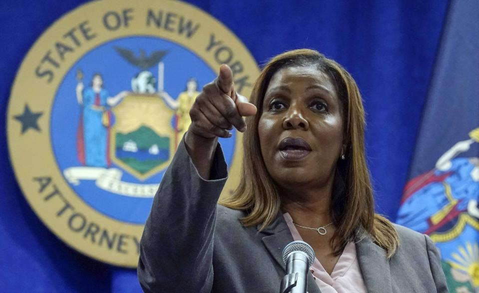 FILE - This photo from Friday May 21, 2021, shows New York Attorney General Letitia James at a news conference in New York. James is overseeing an interview of Gov. Andrew Cuomo by investigators with the state attorney general's office, who are looking into sexual harassment allegations as the probe nears its conclusion. (AP Photo/Richard Drew, File)