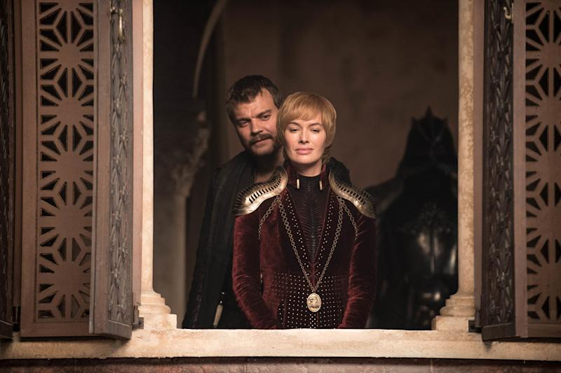 Euron (Pilou Asbæk) and Cersei (Lena Headey) stand at the ready (Helen Sloan/HBO)
