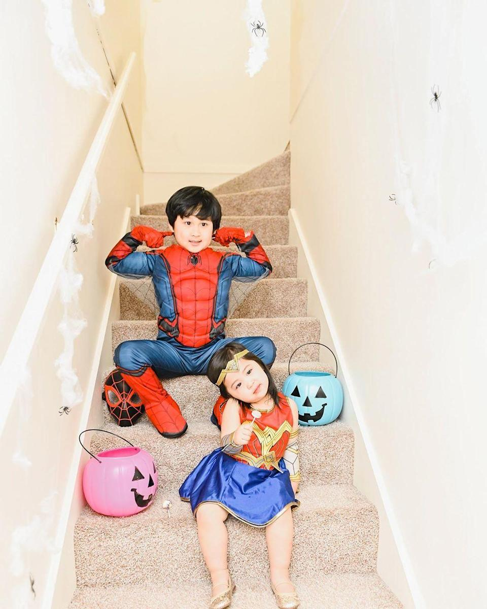 """<p>The best thing about superhero costumes is that there are so many to choose from — and they help your little ones feel so strong and mighty. (Seriously, they may never take these outfits off.)</p><p><em><a href=""""https://www.instagram.com/p/B4SSS_JgTYe/"""" rel=""""nofollow noopener"""" target=""""_blank"""" data-ylk=""""slk:See more on Instagram »"""" class=""""link rapid-noclick-resp"""">See more on Instagram <em><em><em><em><em>»</em></em></em></em></em></a></em></p>"""