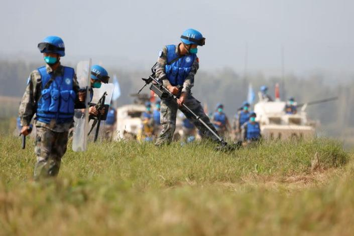 U.N. peacekeeping military exercise on the outskirts of Zhumadian, Henan province, China