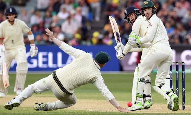 "<span class=""element-image__caption"">England's James Vince glides a ball past Australia's David Warner during the second Ashes Test in Adelaide.</span> <span class=""element-image__credit"">Photograph: William West/AFP/Getty Images</span>"