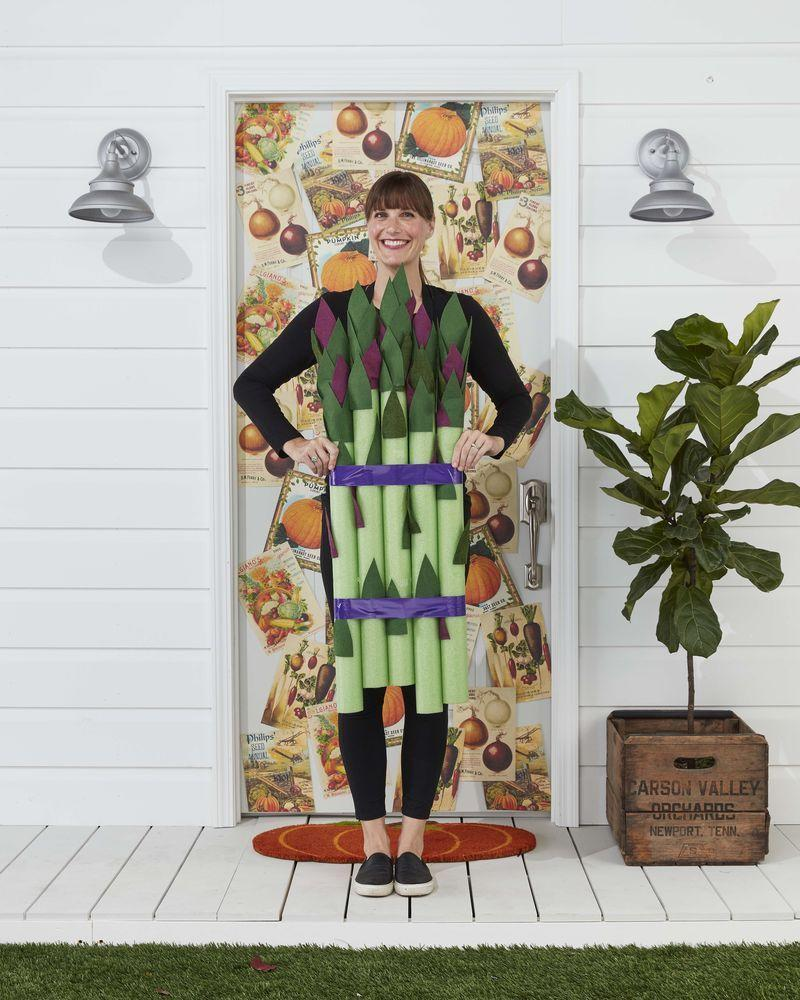 """<p>Serve up a little of your favorite vegetable in costume form!</p><p><strong>Make the Costume:</strong> Gather five lime green pool noodles. Cut leaves from purple and green felt (see template); you will need 10 to 12 for each stalk. Adhere to noodles, concentrating them at the top, with spray adhesive. Bundle pool noodles with purple duct tape. Tape a pair of suspenders to the back of the noodles and drape over shoulders.</p><p><a class=""""link rapid-noclick-resp"""" href=""""https://www.amazon.com/Oodles-Noodles-Deluxe-Foam-Pool/dp/B0787CFRDM/ref=sr_1_1_sspa?tag=syn-yahoo-20&ascsubtag=%5Bartid%7C10050.g.23785711%5Bsrc%7Cyahoo-us"""" rel=""""nofollow noopener"""" target=""""_blank"""" data-ylk=""""slk:SHOP POOL NOODLES"""">SHOP POOL NOODLES</a></p>"""