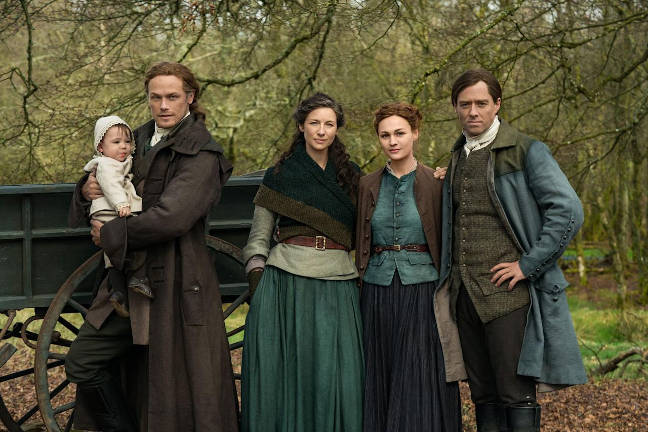 """<p>In <a href=""""https://www.townandcountrymag.com/leisure/arts-and-culture/a20648462/outlander-season-5/"""" target=""""_blank"""">season five of <em>Outlander</em></a>, which premieres Sunday evening, Claire and Jamie find themselves far from Scotland in North Carolina in the 1770s. Claire won't have much use for fancy gowns this season and Jamie will probably not wear a kilt quite as often now that he's in the new world, but we can't wait to see what they look like as they settle in to <a href=""""https://www.townandcountrymag.com/leisure/arts-and-culture/a25321884/outlander-frasers-ridge-season-4-episode-9-filming-locations/"""" target=""""_blank"""">Fraser's Ridge</a> and America teeters on the brink of a revolution.  </p><p>In the meantime, here's what the cast (from this season and earlier seasons) looks like in the 21st century.</p>"""
