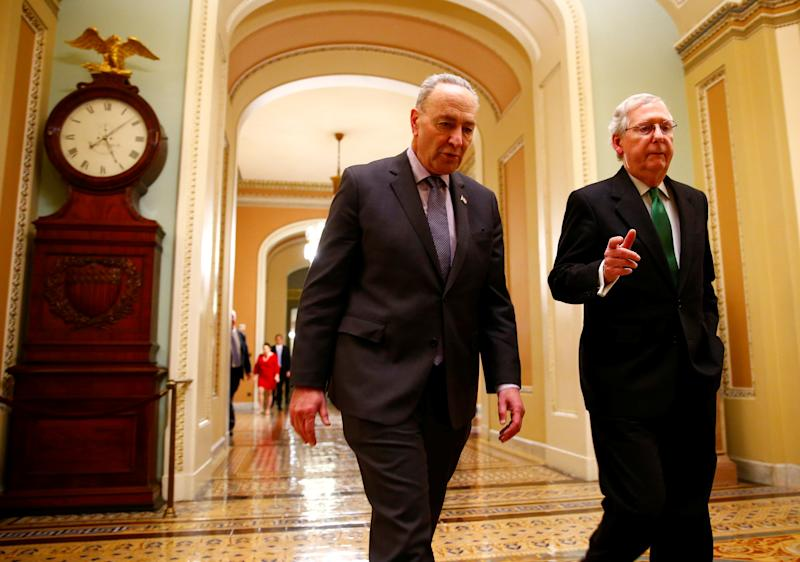 U.S. Senate Minority Leader Chuck Schumer and U.S. Senate Majority Leader Mitch Mc Connell walk to the Senate chamber on Capitol Hill in Washington D.C. U.S