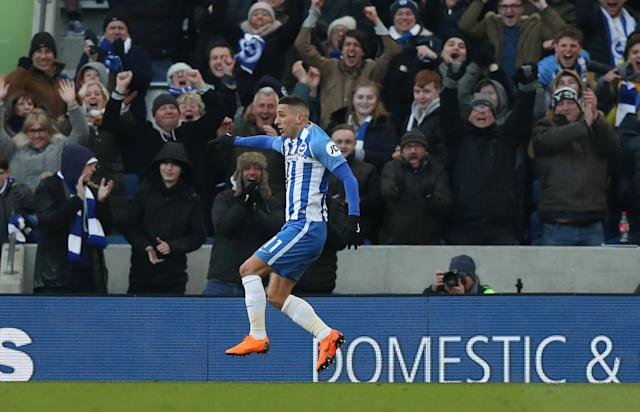 """Soccer Football - Premier League - Brighton & Hove Albion vs Swansea City - The American Express Community Stadium, Brighton, Britain - February 24, 2018 Brighton's Anthony Knockaert celebrates scoring their third goal Action Images via Reuters/Peter Cziborra EDITORIAL USE ONLY. No use with unauthorized audio, video, data, fixture lists, club/league logos or """"live"""" services. Online in-match use limited to 75 images, no video emulation. No use in betting, games or single club/league/player publications. Please contact your account representative for further details."""