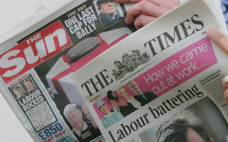 The Sun and The Times newspapers - ALASTAIR GRANT