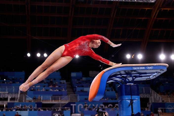 """Mykayla Skinner of Team USA competes on vault during Women's Qualification on day two of the Tokyo 2020 Olympic Games at Ariake Gymnastics Centre on July 25, 2021 in Tokyo, Japan.<span class=""""copyright"""">Laurence Griffiths—Getty Images</span>"""