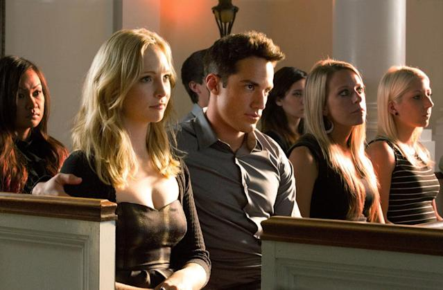 "Candice Accola as Caroline and Michael Trevino as Tyler in ""Memorial,"" the second episode of ""The Vampire Diaries"" Season 4."