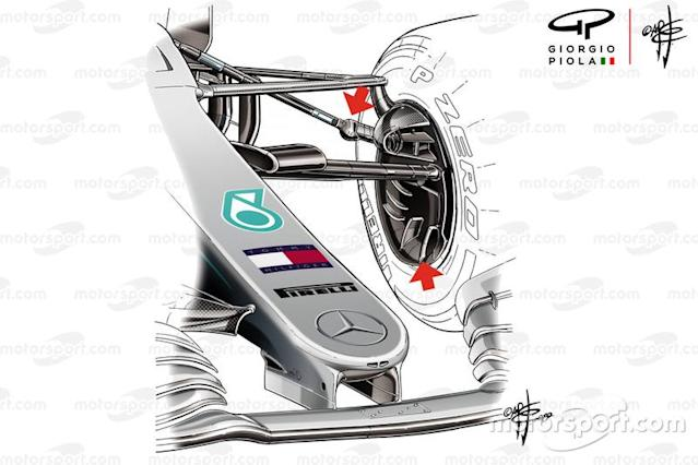 "Mercedes AMG F1 W10 front suspension <span class=""copyright"">Giorgio Piola</span>"
