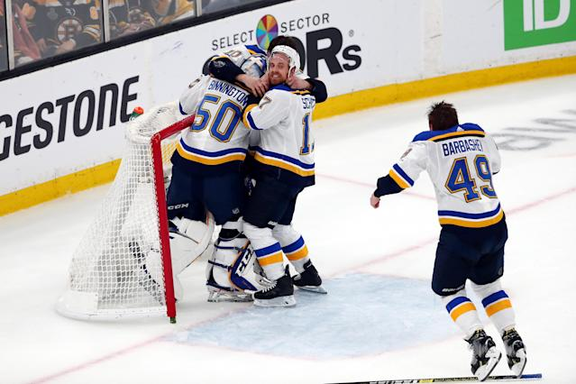 The St. Louis Blues celebrate after defeating the Boston Bruins in Game Seven to win the 2019 NHL Stanley Cup Final at TD Garden on June 12, 2019 in Boston, Massachusetts. (Photo by Adam Glanzman/Getty Images)