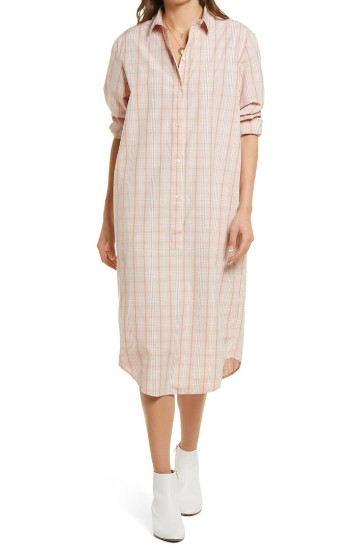 <p>The relaxed fit and roomy silhouette of this <span>Treasure &amp; Bond Plaid Long Sleeve Poplin Shirtdress</span> ($40, originally $79) make it a great pick for lazy days when you'd still like to look put-together. The soft, plaid print makes it stand out.</p>
