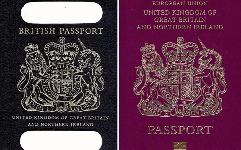 An old British passport (left) and a burgundy UK passport in the European Union style format - Credit: PA
