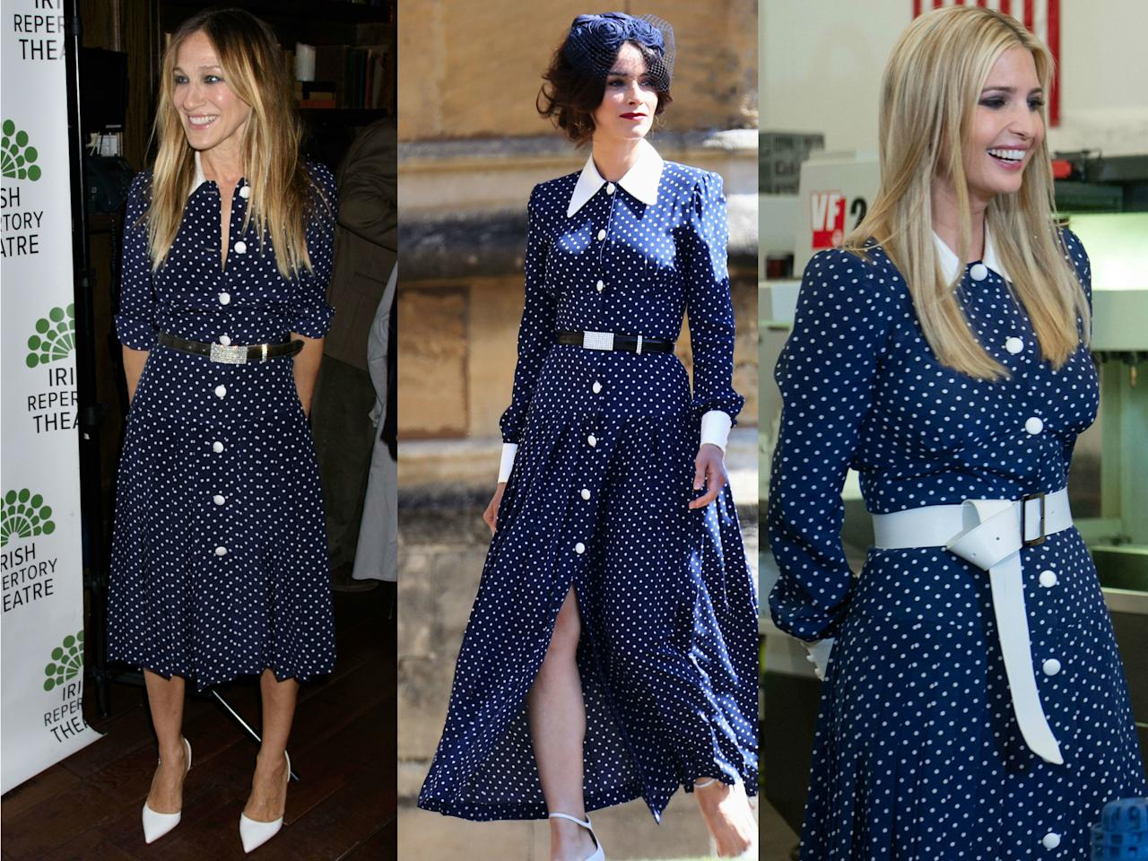 """<p>Alessandra Rich might just have designed one of 2018's most visible dresses: Sarah Jessica Parker paired it with white pumps at the afterparty for husband Matthew Broderick's play <em>The Seafarer</em> in April 2018, and then Abigail Spencer dressed it up for Meghan Markle and Prince Harry's royal wedding in May. Ivanka Trump added a white belt and showed off the design when she visited a steel factory with her father in July 2018.</p> <p>And they're not the only ones who love that contrasting collar: Kate Middleton posed for <a href=""""https://www.glamour.com/story/the-royal-family-just-got-together-for-a-surprise-photo-shoot?mbid=synd_yahoo_rss"""">royal family photos</a> at Prince Charles' seventieth birthday in the dress too.</p>"""