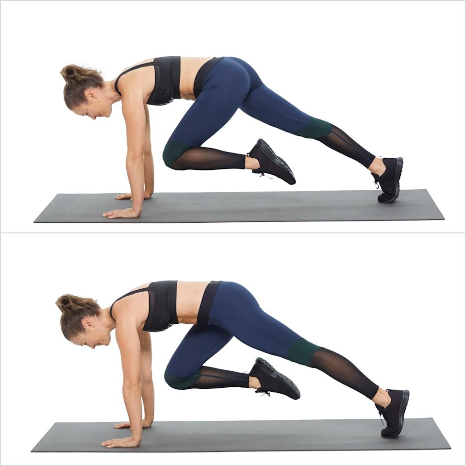"<p>""By far, my favorite at home exercises are variations of planks,"" said licensed Pilates instructor Elyse Kaye. ""They work your entire body and core."" She recommended slow mountain climbers, a move that targets your lower abs with a challenging in-plank crunch.</p> <ul> <li>Start in plank with your shoulders over your hands.</li> <li>Bring your left knee forward toward your chest, pulling your abs to your spine to deepen the ab work, holding the position for 2 to 3 seconds.</li> <li>Switch legs, bringing the right knee forward while moving the right leg back. This completes one rep.</li> </ul>"