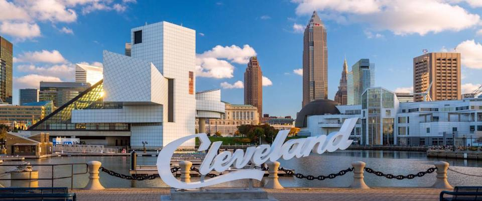 CLEVELAND, OH - August 29: Downtown Cleveland skyline from the lakefront in Ohio USA on